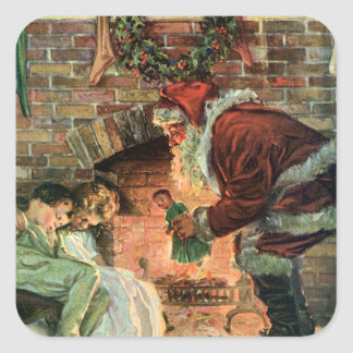 Vintage Christmas, Victorian Santa Claus Fireplace Square Sticker