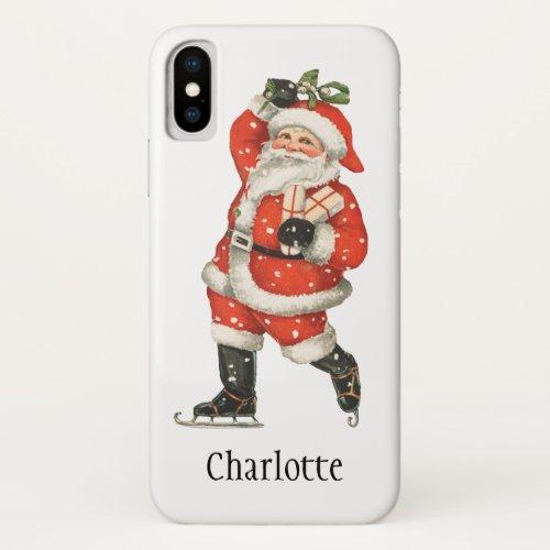 Vintage Christmas Victorian Santa Claus Ice Skater iPhone X Case