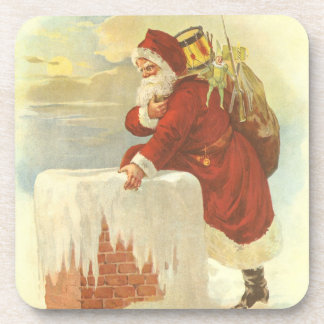 Vintage Christmas Victorian Santa Claus in Chimney Beverage Coaster