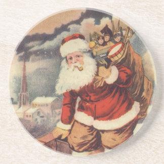 Vintage Christmas Victorian Santa Claus in Chimney Drink Coaster