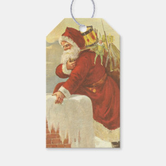 Vintage Christmas Victorian Santa Claus in Chimney Gift Tags