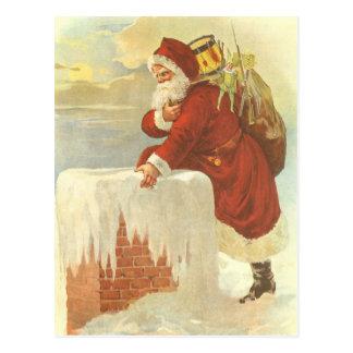 Vintage Christmas Victorian Santa Claus in Chimney Postcard