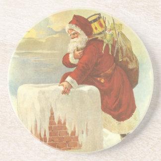 Vintage Christmas Victorian Santa Claus in Chimney Sandstone Coaster