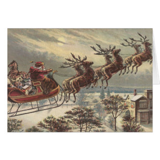 Vintage Christmas Victorian Santa Claus in Sleigh Greeting Card