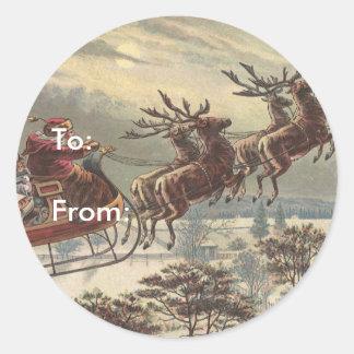 Vintage Christmas, Victorian Santa Claus in Sleigh Classic Round Sticker