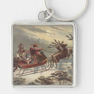 Vintage Christmas Victorian Santa Claus in Sleigh Keychain