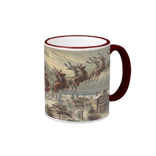 Vintage Christmas, Victorian Santa Claus in Sleigh Mugs