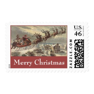 Vintage Christmas, Victorian Santa Claus in Sleigh Stamp