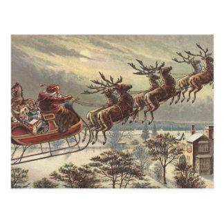 Vintage Christmas Victorian Santa Claus in Sleigh Postcard