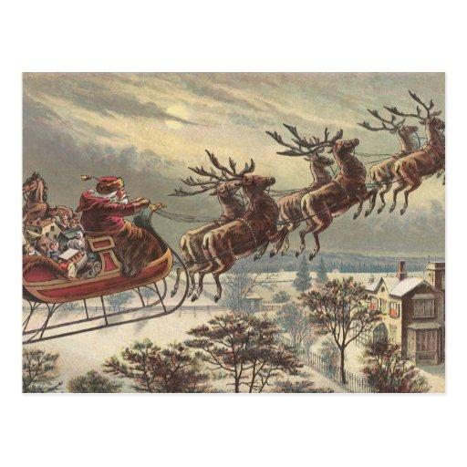 Vintage Christmas, Victorian Santa Claus in Sleigh Postcard