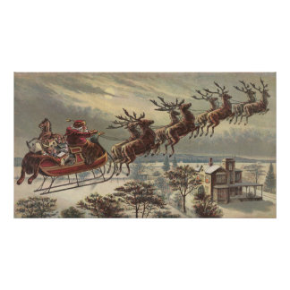 Vintage Christmas, Victorian Santa Claus in Sleigh Poster