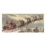 Vintage Christmas, Victorian Santa Claus in Sleigh Rack Card Design
