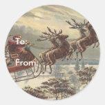 Vintage Christmas, Victorian Santa Claus in Sleigh Sticker