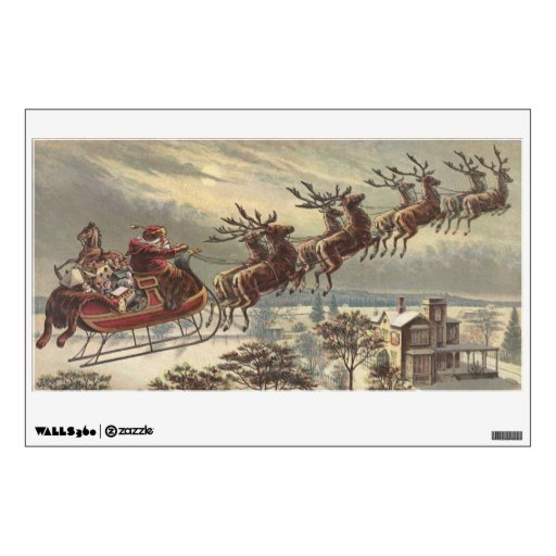 Vintage Christmas, Victorian Santa Claus in Sleigh Wall Sticker