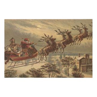 Vintage Christmas, Victorian Santa Claus in Sleigh Wood Print