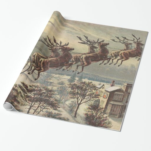 Vintage Christmas, Victorian Santa Claus in Sleigh Gift Wrap Paper