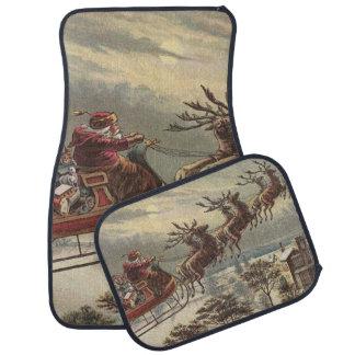 Vintage Christmas, Victorian Santa Claus in Sleigh Floor Mat