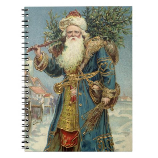 Vintage Christmas, Victorian Santa Claus Spiral Note Books