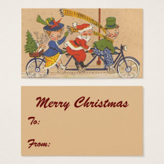 Vintage Christmas, Victorian Santa Claus on Bike Business Card