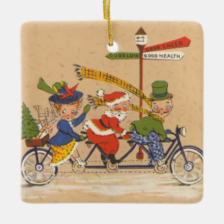 Vintage Christmas, Victorian Santa Claus on Bike Ceramic Ornament