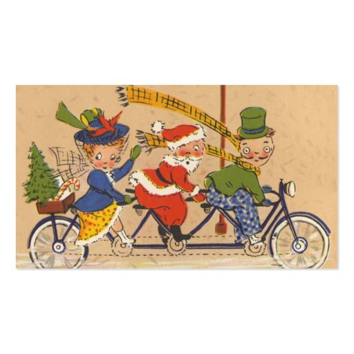 Vintage Christmas, Victorian Santa Claus on Bike Double-Sided Standard Business Cards (Pack Of 100)