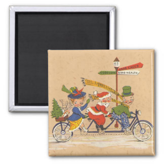 Vintage Christmas, Victorian Santa Claus on Bike Magnet