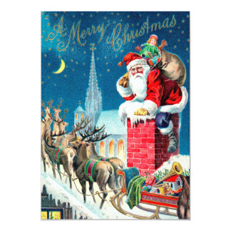 Vintage Christmas Victorian Santa Claus on Chimney Card