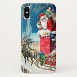 Vintage Christmas Victorian Santa Claus on Chimney iPhone X Case