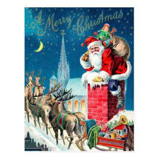 Vintage Christmas Victorian Santa Claus on Chimney Postcard