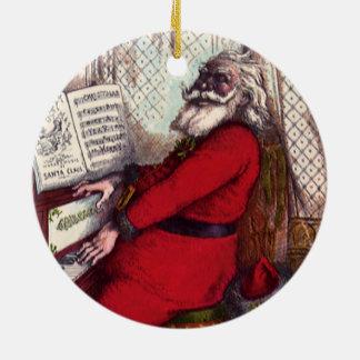 Vintage Christmas Victorian Santa Claus Piano Christmas Ornament