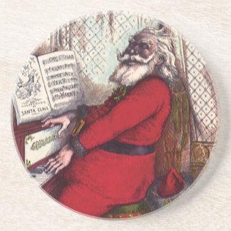 Vintage Christmas, Victorian Santa Claus Piano Sandstone Coaster