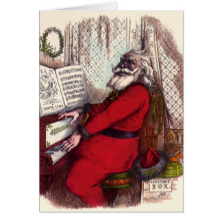 Vintage Christmas, Victorian Santa Claus Piano Stationery Note Card