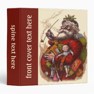 Vintage Christmas, Victorian Santa Claus Pipe Toys 3 Ring Binder