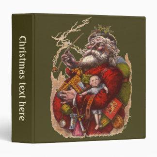 Vintage Christmas, Victorian Santa Claus Pipe Toys Binder