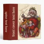 Vintage Christmas, Victorian Santa Claus Pipe Toys 3 Ring Binders