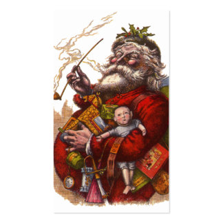 Vintage Christmas, Victorian Santa Claus Pipe Toys Double-Sided Standard Business Cards (Pack Of 100)