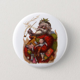 Vintage Christmas, Victorian Santa Claus Pipe Toys Button