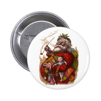 Vintage Christmas Victorian Santa Claus Pipe Toys Buttons