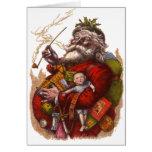 Vintage Christmas, Victorian Santa Claus Pipe Toys Greeting Card