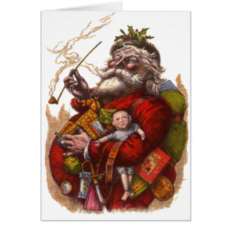 Vintage Christmas, Victorian Santa Claus Pipe Toys Card
