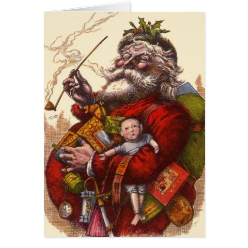 Victorian Father Christmas Decorations: Vintage Christmas, Victorian Santa Claus Pipe Toys Card