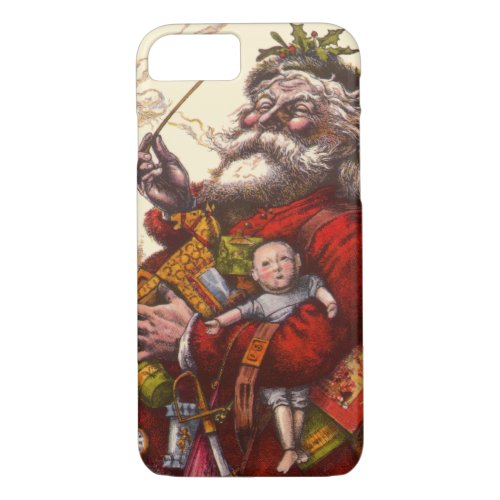 Vintage Christmas Victorian Santa Claus Pipe Toys iPhone 87 Case