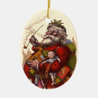 Vintage Christmas, Victorian Santa Claus Pipe Toys Ceramic Ornament
