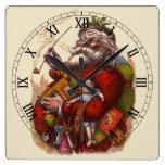 Vintage Christmas, Victorian Santa Claus Pipe Toys Square Wall Clocks