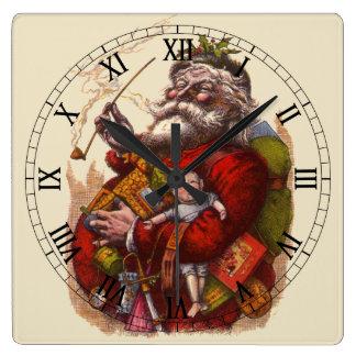 Vintage Christmas Victorian Santa Claus Pipe Toys Square Wall Clocks