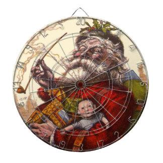 Vintage Christmas, Victorian Santa Claus Pipe Toys Dartboard
