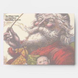 Vintage Christmas, Victorian Santa Claus Pipe Toys Envelope