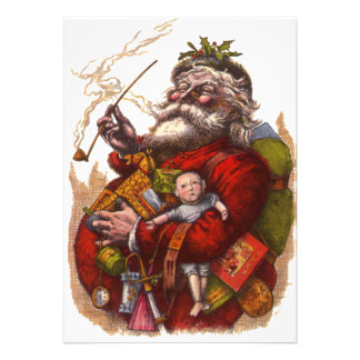 Vintage Christmas Victorian Santa Claus Pipe Toys Announcement