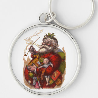 Vintage Christmas Victorian Santa Claus Pipe Toys Key Chains