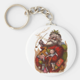Vintage Christmas, Victorian Santa Claus Pipe Toys Keychain
